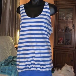 American Eagle blue white stripe tank dress Large